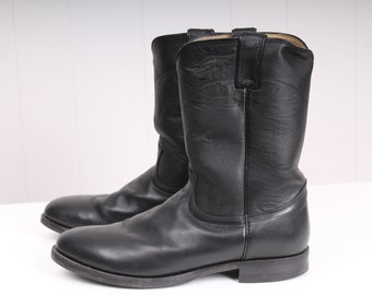 vintage american 1970s black leather JUSTIN  cowboy mens motorcycle boots 10 1/2 10.5 USA made