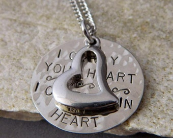 I Carry Your Heart. I Carry it in My Heart Handstamped Necklace