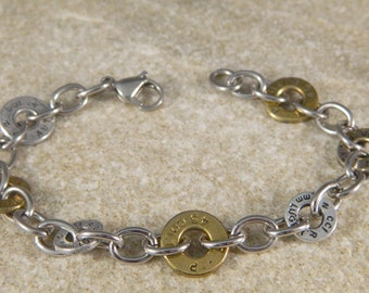 Bullet Shell Washer and Stainless Steel Bracelet
