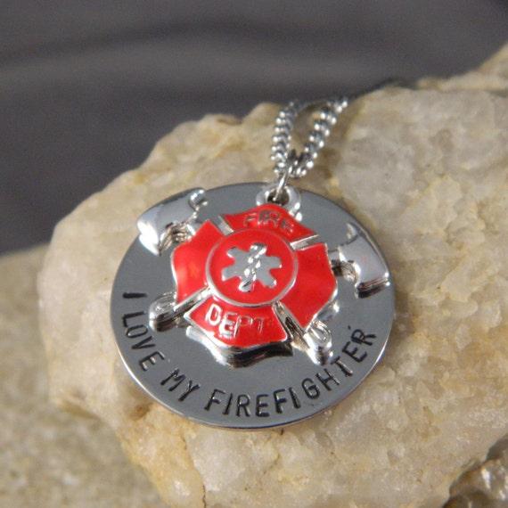 I love My Firefighter, Please Keep Him/Her Safe Handstamped Necklace