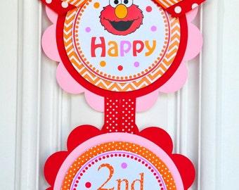 Elmo Door Sign, Elmo Vertical Door Sign, Girl Elmo Birthday Party Decorations
