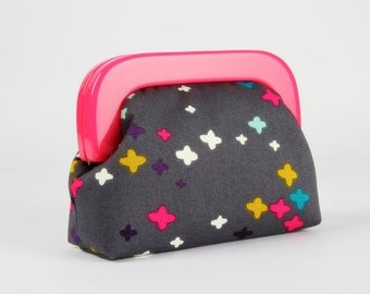 Little purse with resin frame - It's a plus in grey - Girly purse / Hot pink frame / Little cross / Mustard teal white grey violet mint