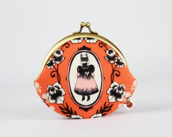 Metal frame coin purse - Ophelia in coral - Daddy rounded purse / Boo / Halloween / Japanese fabric / Cotton and Steel / Sarah Watts