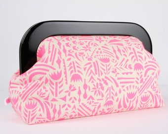 Clutch purse with resin frame - Botanica in neon pink - Home purse / Ellen Luckett Baker / Rough cut / Modern graphic / Black neon pink