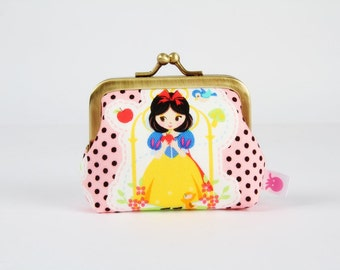 Metal frame coin purse - Disney princess Snow White - Deep mum / Kawaii japanese fabric