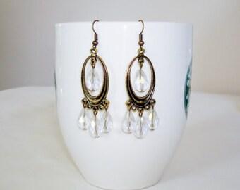 Elegant Bronze & AB Glass Beads Chandelier Earrings