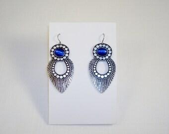 Antique Silver Tone Blue Dangle Earrings