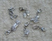 Knitting progress keepers jewelry charms stitch markers - 6 removable markers - silver with lobster claw clasp - yarn sweater scarf spinning