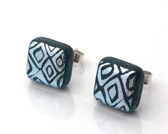Silver fused dichroic glass stud earrings - surgical steel posts and scrolls ES 398