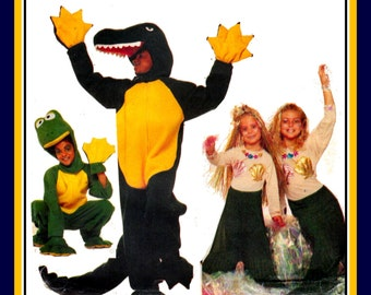 Vintage 1986-ALLIGATOR-MERMAID-FROG-Adult Costume Sewing Pattern-Removable Headpiece-Claw Spats-Web Hand Mittens-Uncut-Size Medium-Rare
