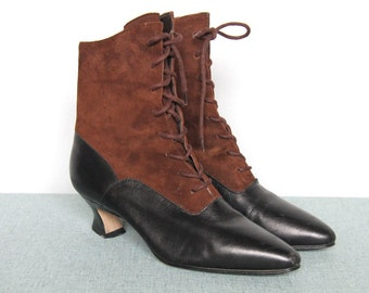 victoriana -- vintage 90s does victorian ankle boots size 6 M