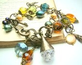 Multi strand charm bracelet, double strand bronze chain bracelet, multi color crystal charm bracelet, vintage look