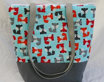 Baby Fox on Aqua- Insulated Lunch Bag-Tote-Eco-Friendly and Washable-Water and Mildew Resistant Interior -Extra Large-Tall Size