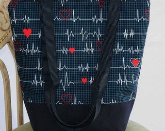 Calling All Nurses-Heartbeat- Insulated Lunch Bag-Tote-Eco-Friendly and Washable-Water and Mildew Resistant Interior -Extra Large-Tall Size