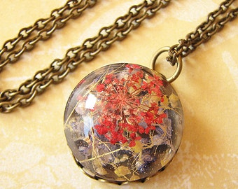 Resin Jewelry Real Flower Jewelry Real Flower Necklace Pendant Necklace Gift For Her Charm Necklace Pressed Flower