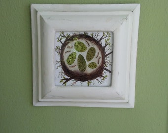 Handmade Convex Frame from Architectural Salvage with Birds Nest Print