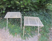 Vintage Mid Century Modern PAIR of Metal Collapsible Painted White Patio Tables