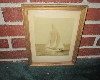 Vintage 1940s 8x10 Framed 6x7 Sailboat Photo