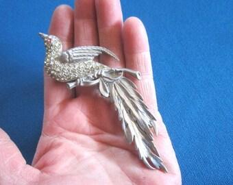 Vintage 1930s/40s Art Deco Large Rhinestone Bird Brooch
