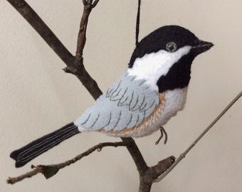 Chickadee Bird  Ornament/ Hand Embroidered Tree Ornament