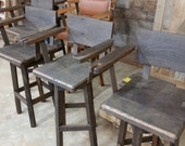 """YOUR Custom Reclaimed Swivel Barn Wood 18""""-36"""" Top Bar Stool with Backs and Arms and Paint or Stain - FREE SHIPPING - SBSSBC188"""