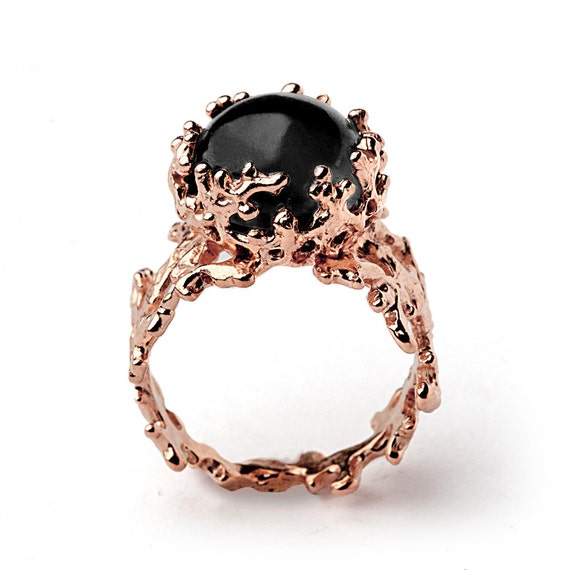 CORAL 14k Rose Gold yx Ring Black yx Engagement Ring