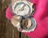 REDUCED shabby chic pink hat with denim and lace flowers - REDUCED and perfect for Spring