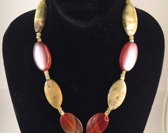 Bohemian Chic Light Green Jasper and Carnelian Necklace