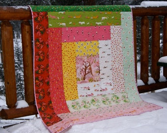 Quilt Log Cabin Baby Toddler Children Nursery Bedding Tiger Lily Pink Green Cats Ballerinas Tree Girl Dandelion Modern