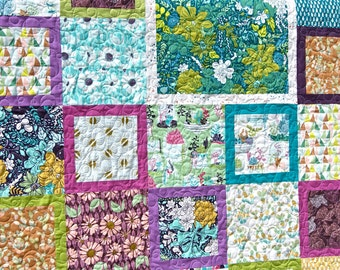 Quilt Lap Throw Succulence Art Gallery Fabrics Teal Green Fuchsia Purple Squares Spring Modern Plants Terrariums