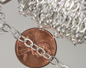 SAMPLE 3 ft of Silver Plated Flat Cable Sturdy SOLDERED Heavy Chain 4X5mm 22Gauge - Ship from California USA