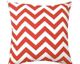 Orange Chevron Throw Pillow - Zig Zag Tangelo Orange Decorative Throw Pillow Free Shipping