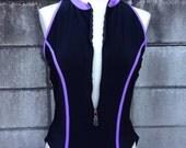 Black Zip Swimsuit Vintage 1990s One Piece Bathing Suit Purple