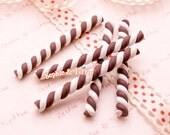 Kawaii Cabochon - Polymer Clay Chocolate Candy Cane - 6 pieces