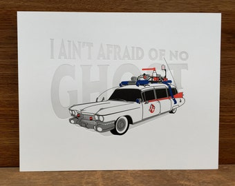 Ghostbusters Ecto-1 Letterpress Poster