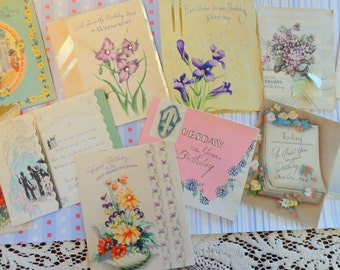 Vintage Birthday For A Specific Day and For a Dear Friend Lot No 103 ie Your Birthday is Saturday Lot of 11 Flowers Pastels