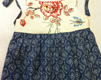 Pinafore Dress Vintage Cotton & Antique Embroidery size 2 by Barneche/ Stephanie Barnes