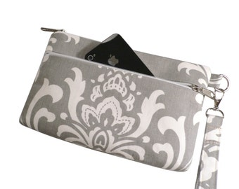 iPhone 6 Plus Wristlet, Cell Phone Case,  X-Large Wristlet Wallet, Checkbook/ Galaxy Note Purse, Grey Damask