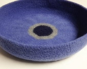Modern Cat Bed Knit Crochet Wool Handmade Felted Pet Bed in Periwinkle with Dark Purple and Light Gray Circles