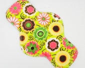 "12"" Heavy Cloth Pad, Reusable Cloth Menstrual Pad Made w/ Floral Minky, Windpro Fleece, Overnight Pad by MotherMoonPads"