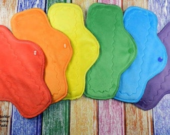 "Pre-order Cloth Pad Set of 6, 10"" Moderate Flow Day Pads, A Rainbow of Minky, Windpro Reusable Cloth Menstrual Pads by MotherMoonPads, CSP"