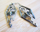 Fantasy Dragon Hand Painted Earrings Pewter over Tibetan Silver