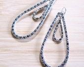 Gunmetal Grey Rhinestone Double Teardrop Charm Earrings Faceted Glass
