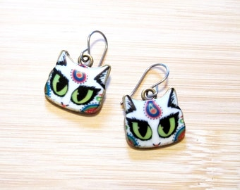 Kitty Cat Boho Hippie Paisley Earrings Enamel
