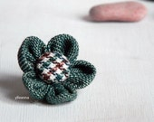 Lapel pin, flower. Mens boutonniere. Men accessories. Forest green, brown. Houndstooth.