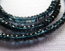 Shop Sale.. LONDON BLUE Topaz Rondelles Beads, Luxe AAA, 3.5-4 mm, Teal Blue, faceted brides bridal december birthstone, not so blue 40