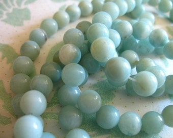 Shop Sale.. 1/2 Strand, AMAZONITE Beads, 6 mm Round, Luxe AAA, Aqua Blue, brides bridal something blue .. roundgems6