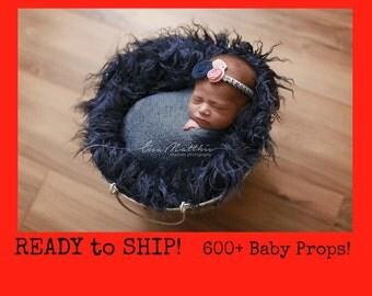 RTS 40 Colors Flokati, Dark Blue Faux Flokati Fur Newborn Photo Props, Ink Navy Blue Long Sheep Faux Flokati Basket Stuffer Fur, Baby Boy