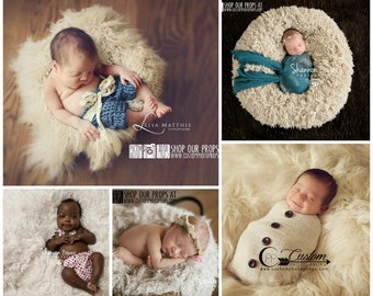 Faux Flokati Fur, 5 Neutral Colors, BaSKeT StuFfer Newborn Photography Props, Baby Props, Newborn Prop, Wool, Baby Props, Ivory, Baby Props