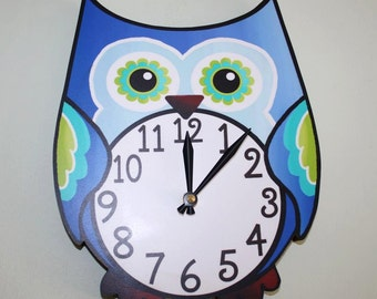 Pretty in Blue Owl Wooden WALL CLOCK Girls Bedroom Baby Nursery to Match Many Owl Bedding Themes WC0018